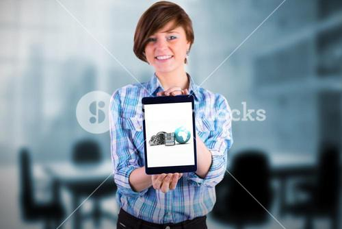 Composite image of portrait of smiling woman showing tablet computer