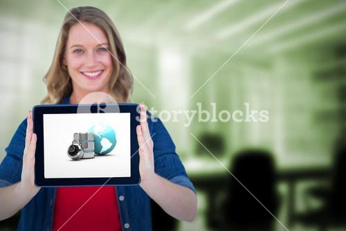 Composite image of smiling woman holding tablet pc