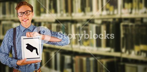 Composite image of geeky businessman showing his tablet pc