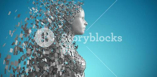 Composite image of side view of gray pixelated 3d woman