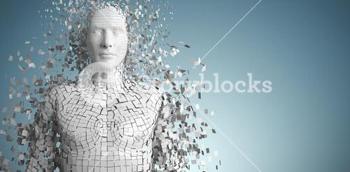 Composite image of close-up of pixelated gray 3d man