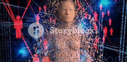 Composite image of close-up of composite brown pixelated 3d woman