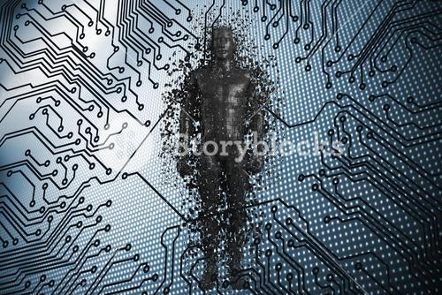 Composite image of full length of black pixelated 3d man