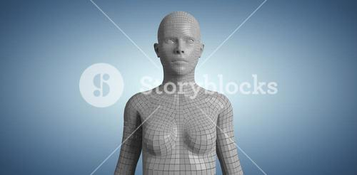 Composite image of digital image of gray 3d woman