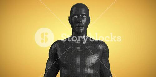 Composite image of digital image of black 3d man