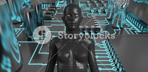 Composite image of composite image of black 3d woman