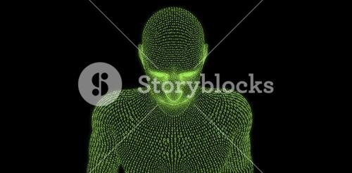 Composite image of close-up of digital 3d man