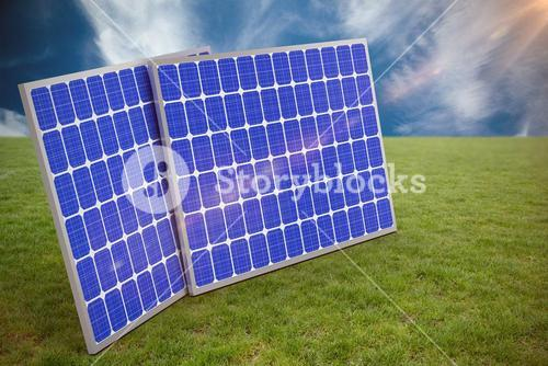 Composite image of 3d image of blue solar panels