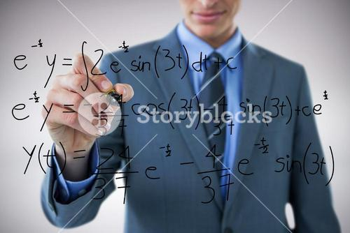 Composite image of midsection of well dressed businessman holding marker
