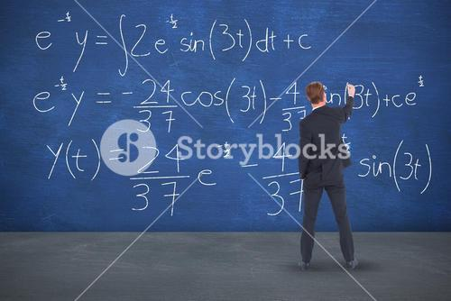 Composite image of rear view businessman writing with chalk