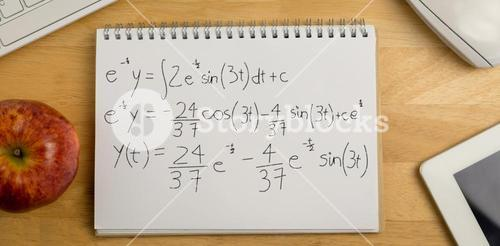 Composite image of calculations against black background