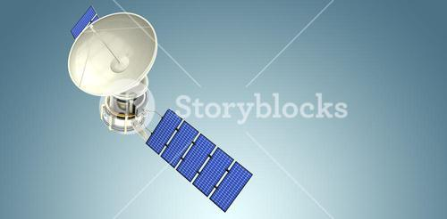 Composite image of high angle view of3d solar satellite