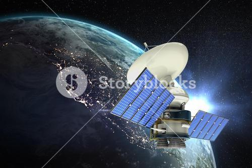 Composite image of high angle view of 3d solar powered satellite