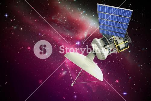 Composite image of vector image of 3d solar powered satellite