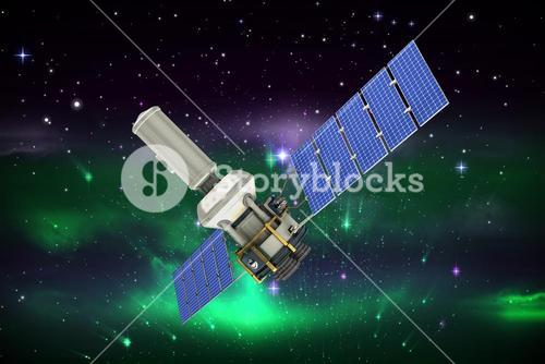 Composite image of low angle view of 3d modern solar satellite