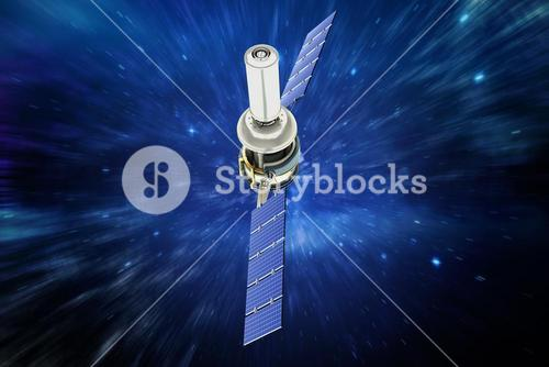 Composite image of high angle view of3d modern solar satellite