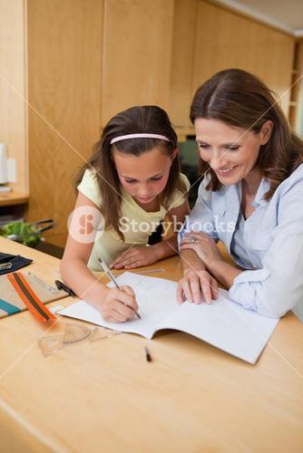 Girl getting help with homework