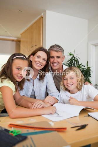 Family doing homework together
