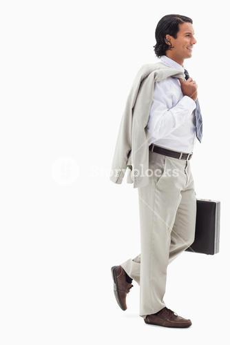 Portrait of a smiling businessman going to work