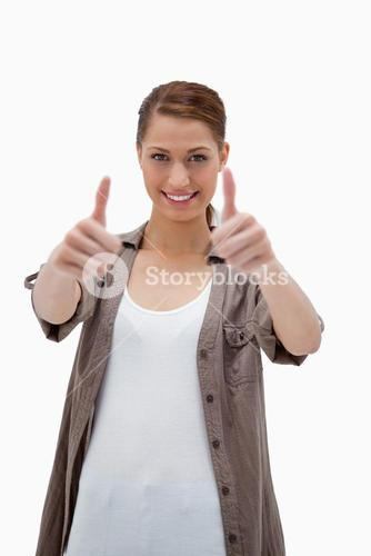 Smiling woman giving approval