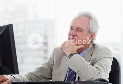 Happy senior manager working with a monitor