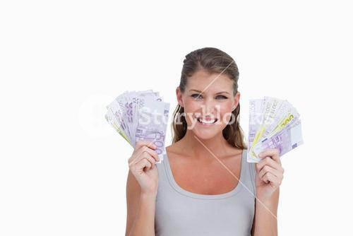 Woman showing bank notes