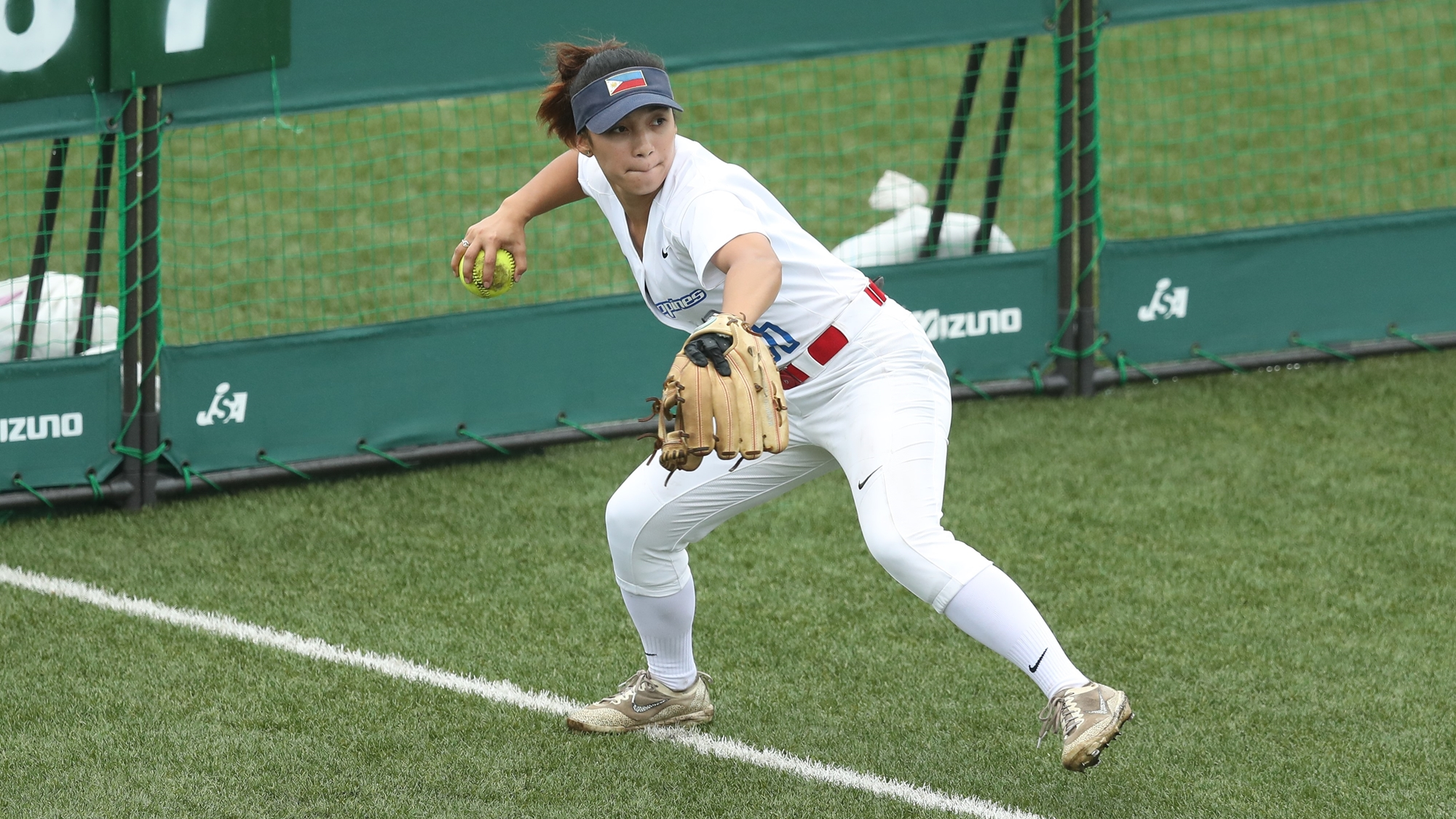 Arianne Vallestero of the Philippines in the outfield