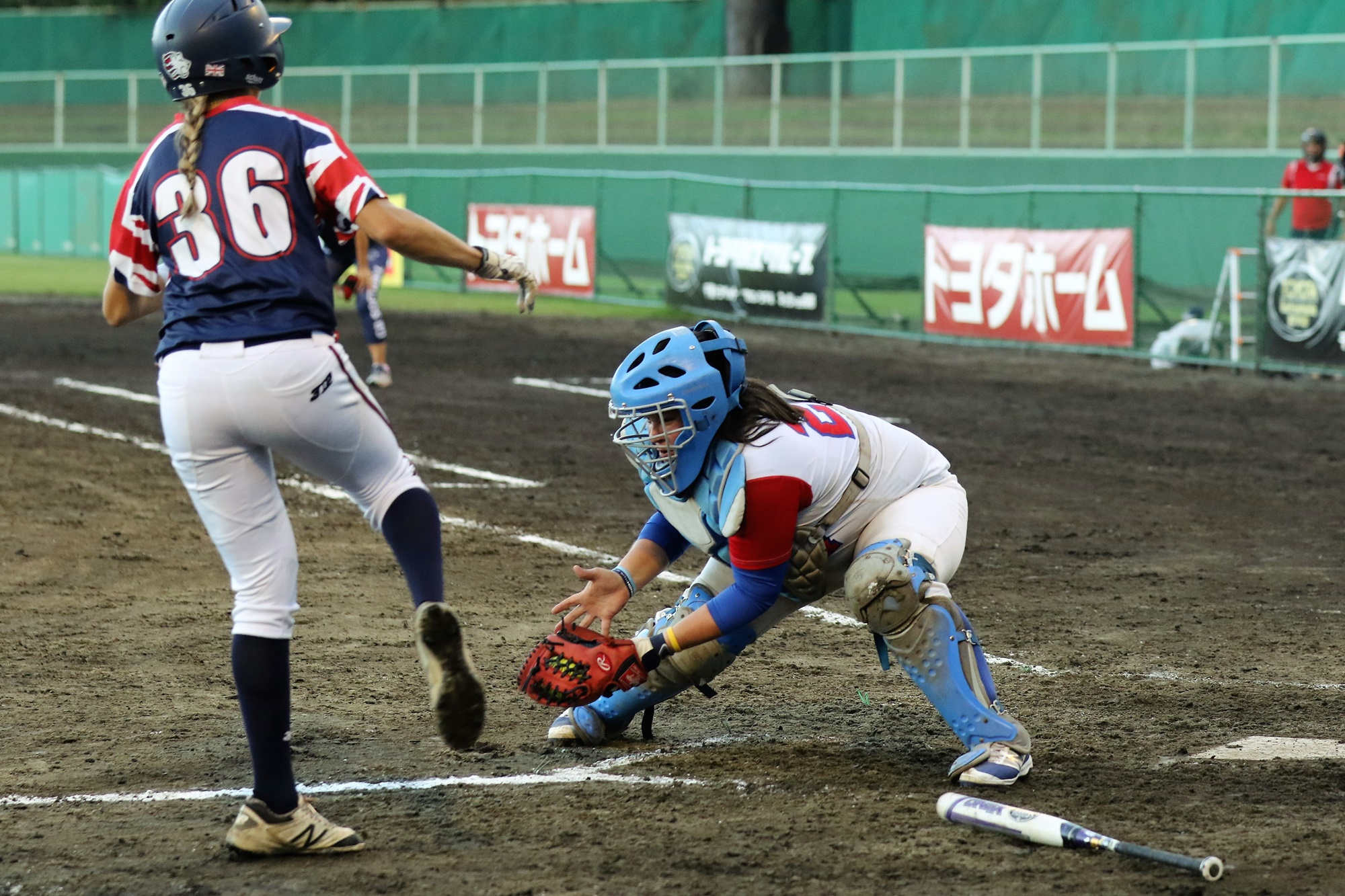 Kendyl Scott of Great Britain knew that the ball got to Venezuela's catcher Cristina Rodriguez way before her