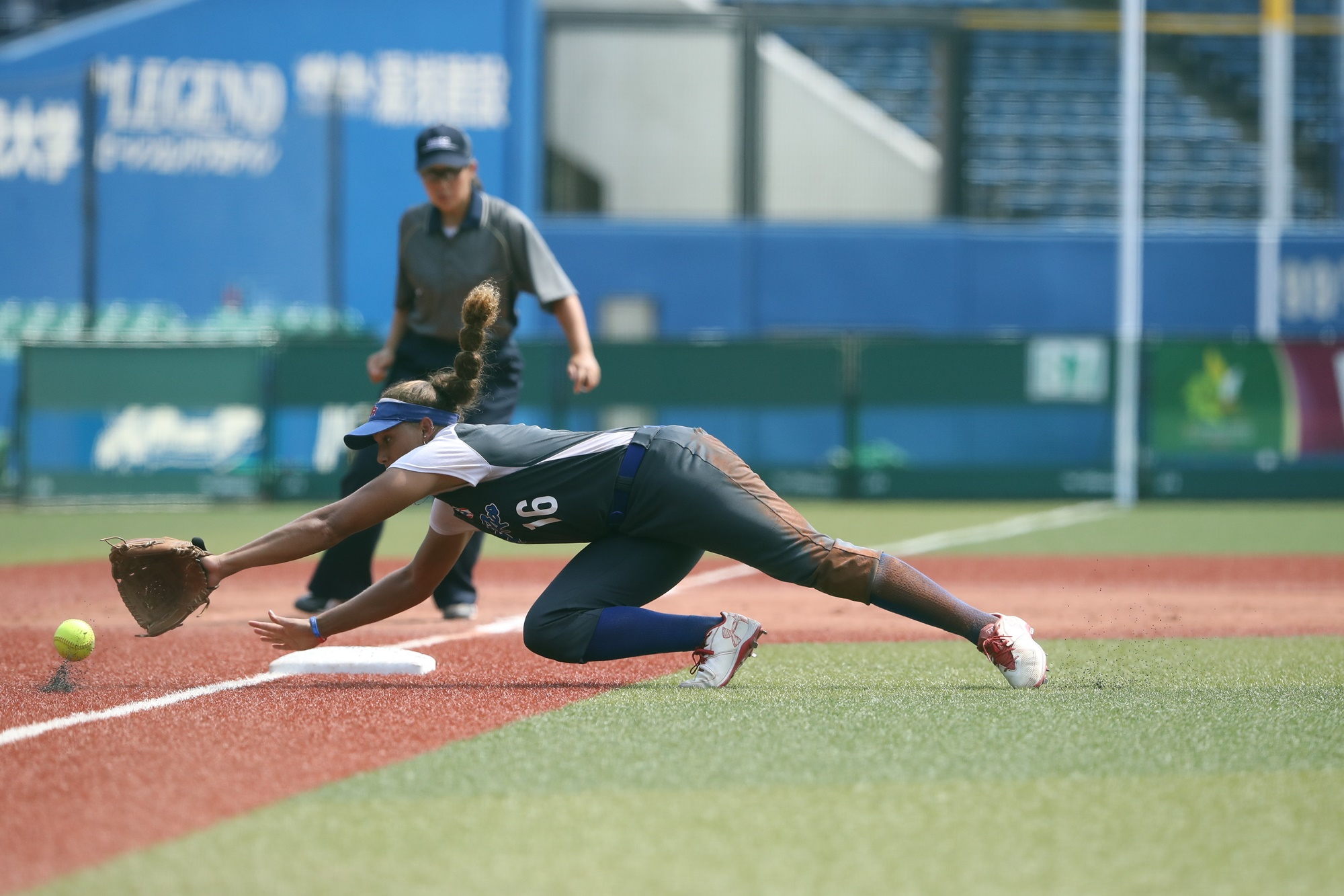 A great diving catch by Puerto Rico's Quianna Diaz