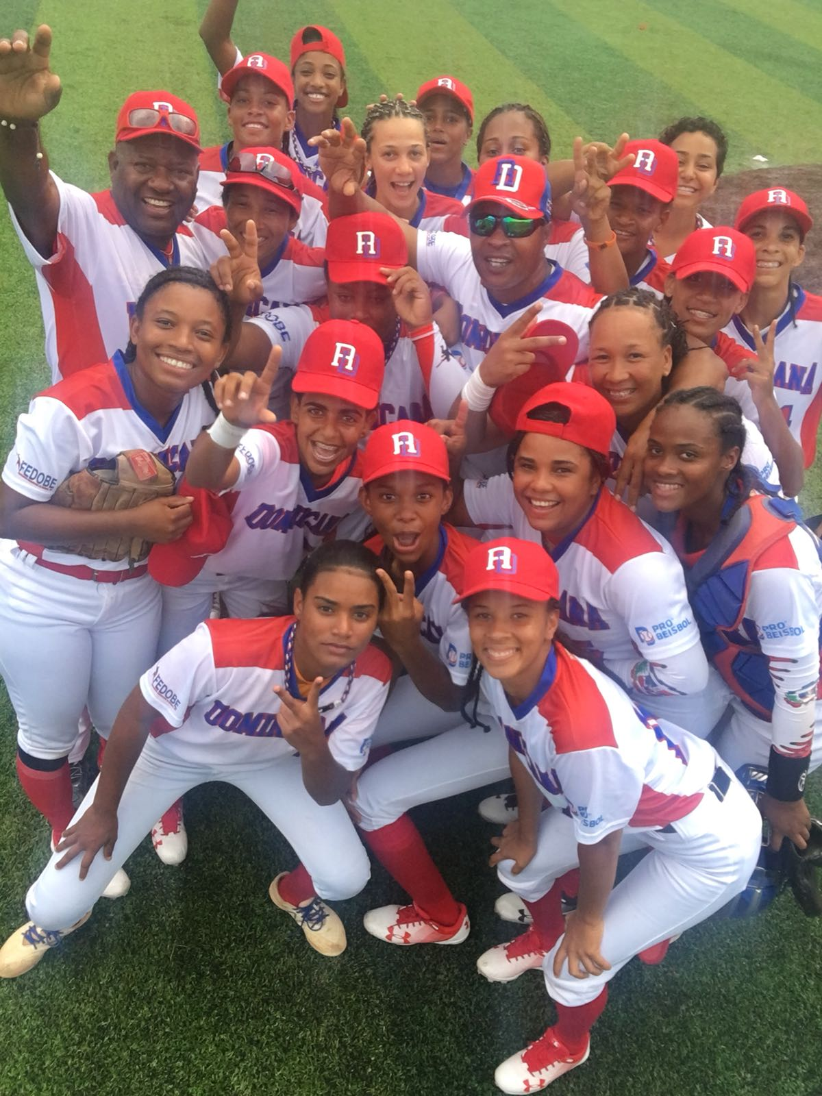 Dominican Republic celebrates the first ever win in Women's Baseball on the world stage
