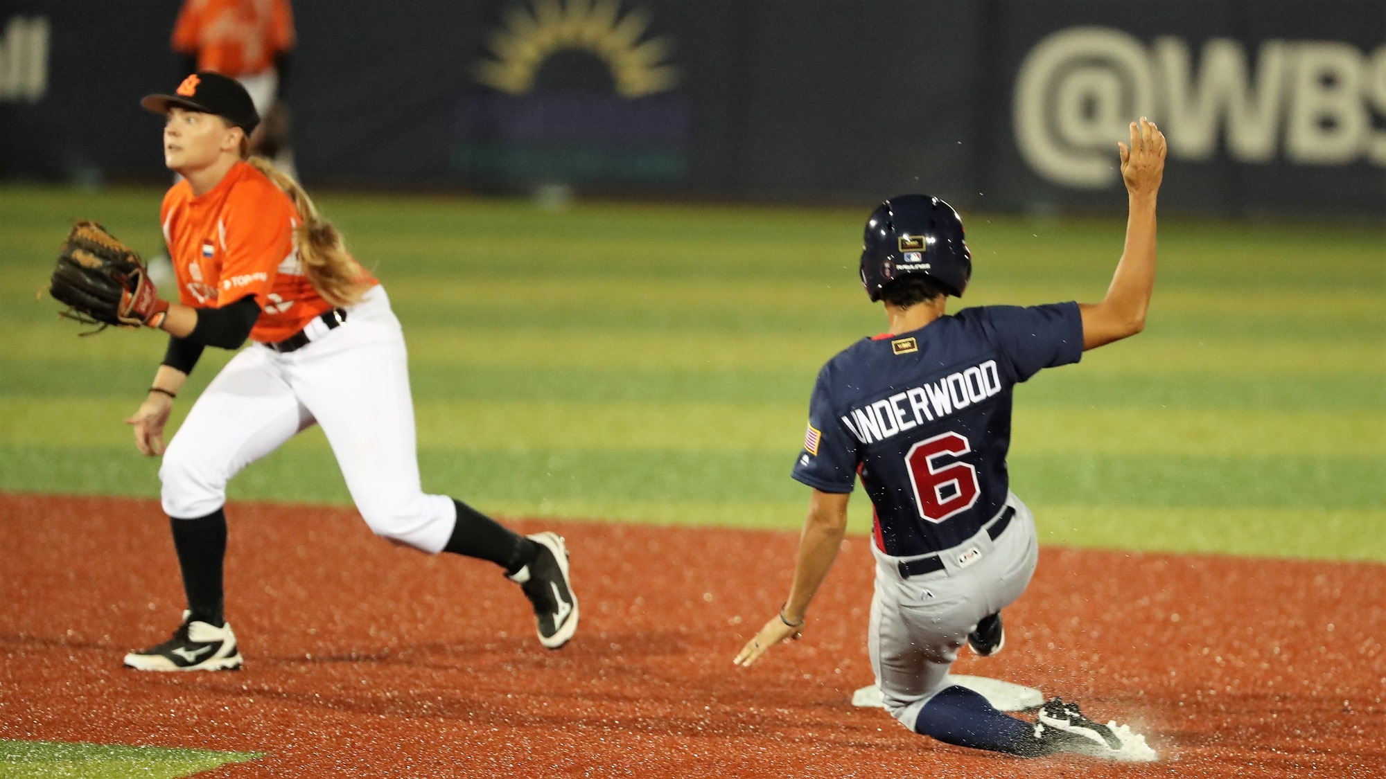 Malaika Underwood slides into second, Isabelle Markies fields