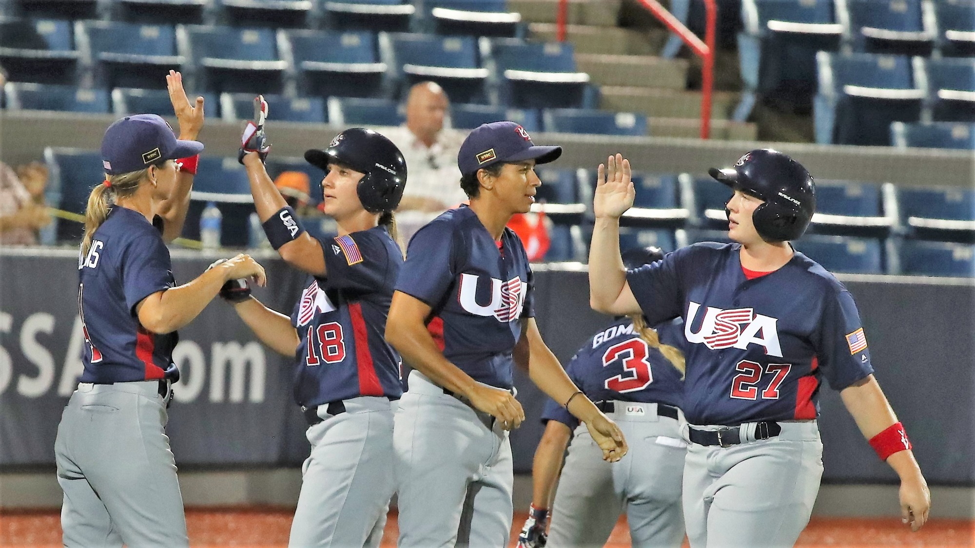 The USA celebrate after beating The Netherlands