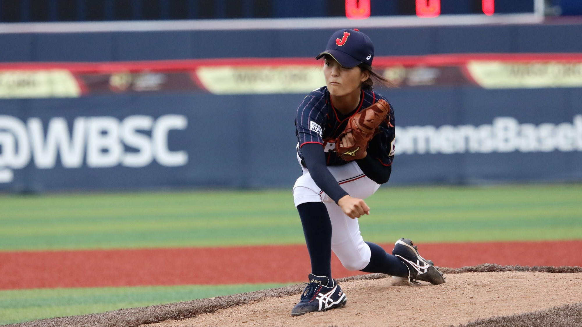 Amy Sakahara pitched six innings for Japan against Cuba