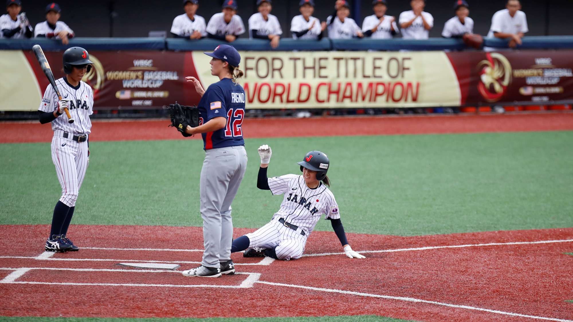 Japan also mastered the running game: they stole three bases in the first three innings and scored on a squeeze play