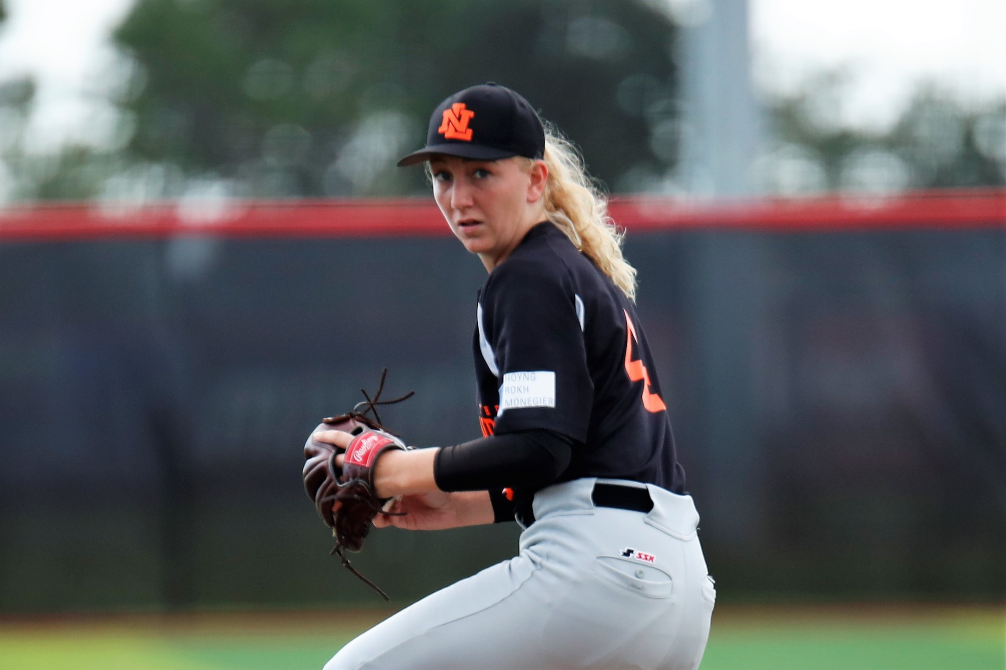 Dutch pitcher Loes Asmus didn't receive much help from her defense