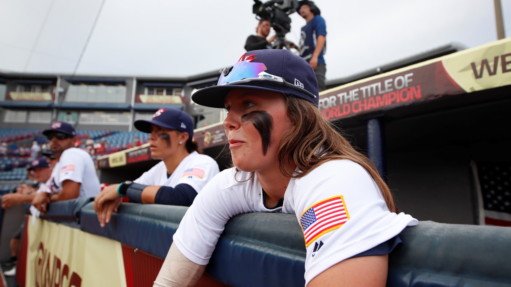 USA dug out before the game against Dominican Republic