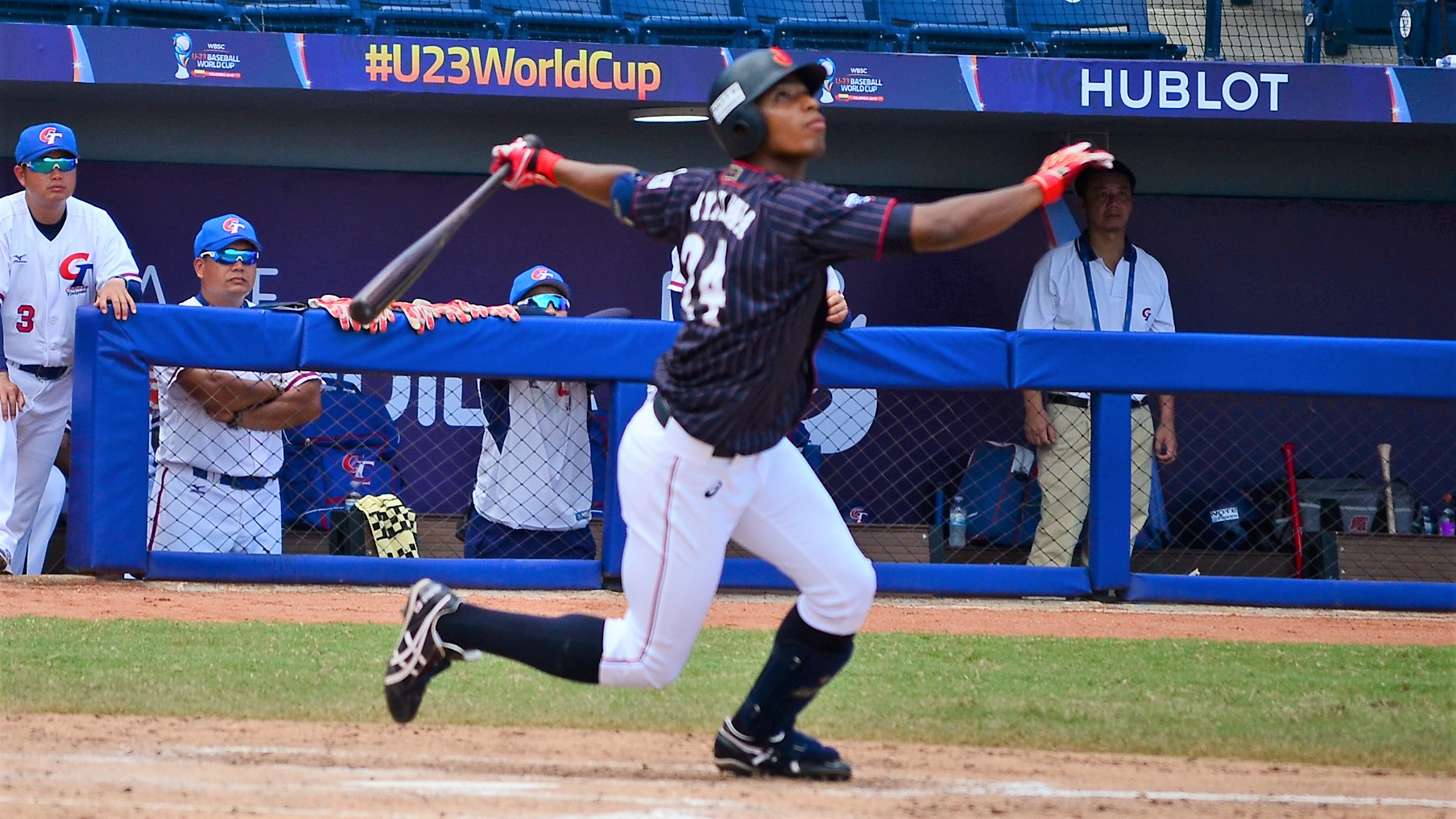 Yoshua Miwazawa was not lucky when he hit a ball to the gap in the ninth and found a great running catch by Chinese Taipei center fielder Hong Wei Han
