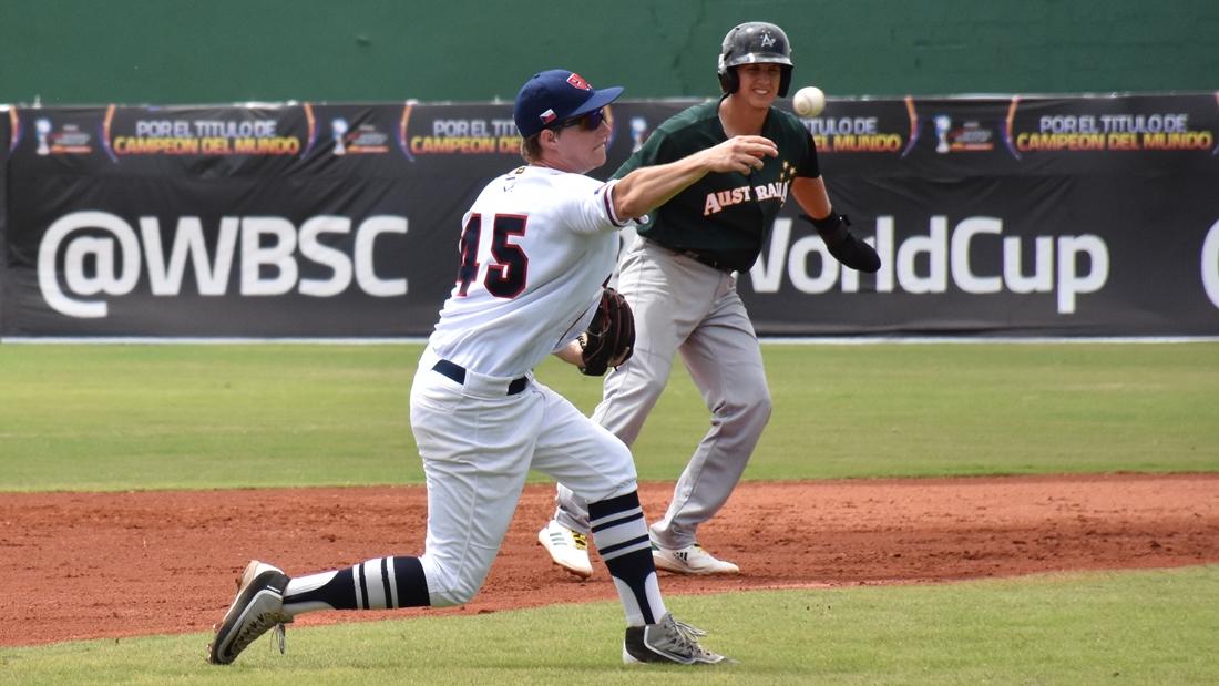 Jacob Kubika makes a play at third base