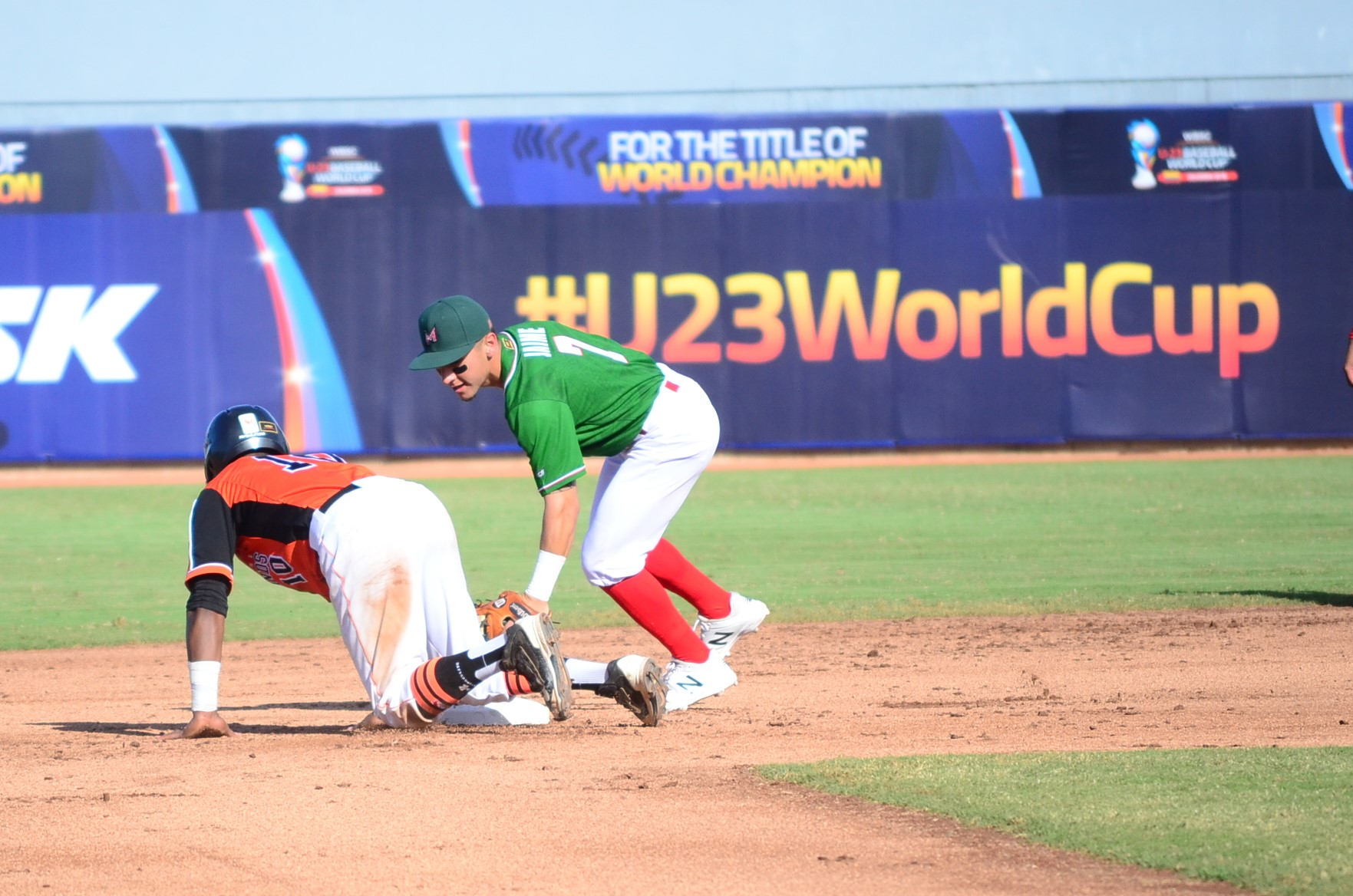 Mexico's shortstop Marco Jaime defends second base