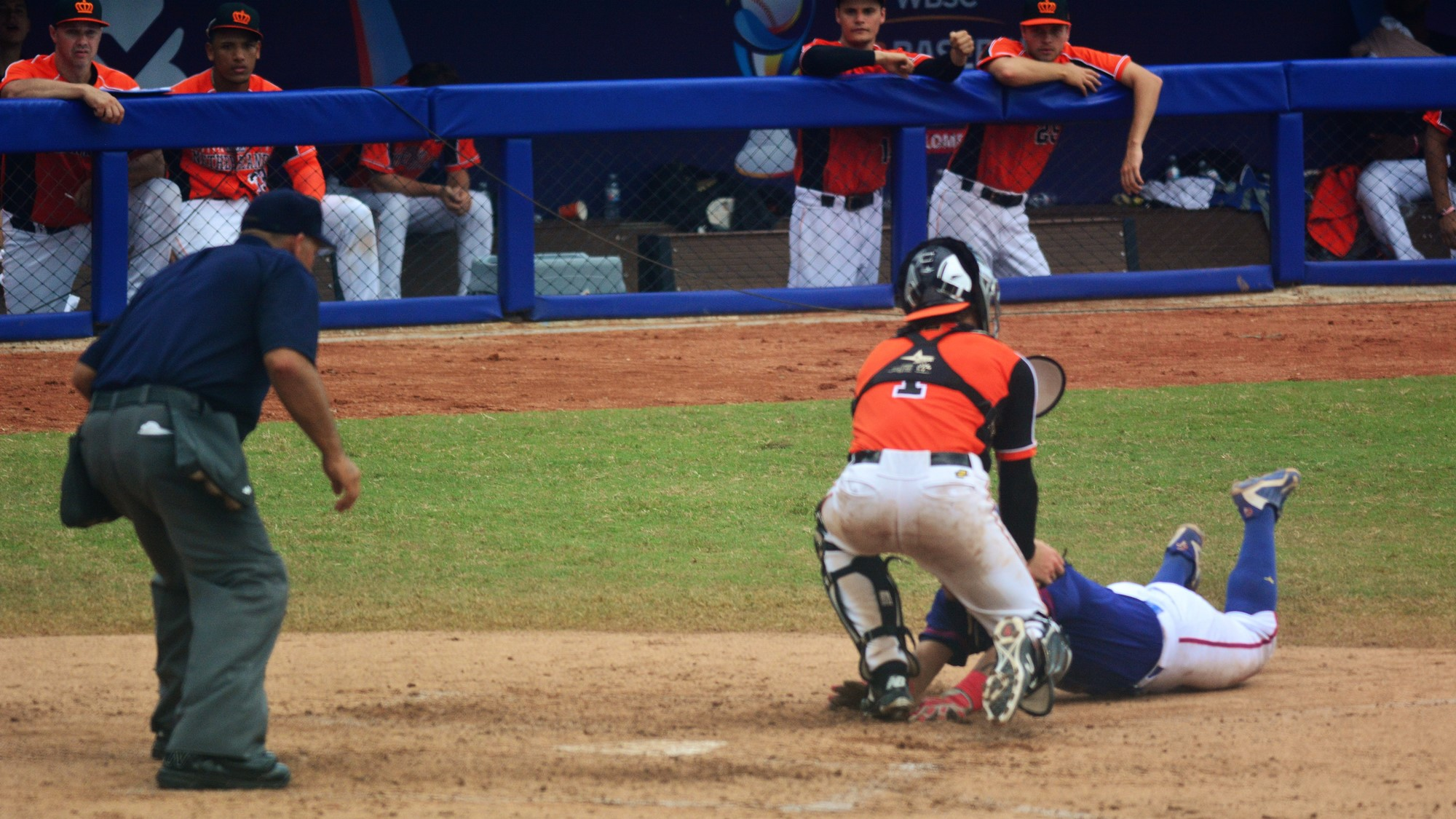 This out at the home plate in the seventh prove to be key to Netherlands win