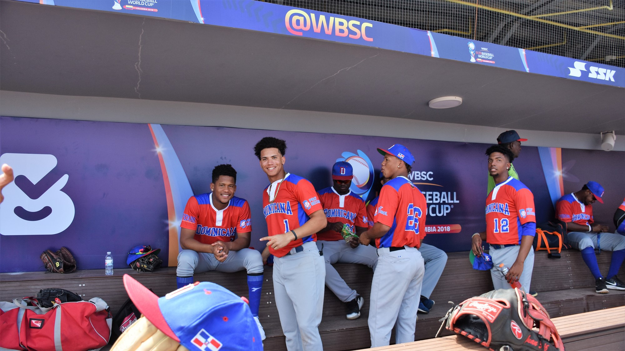 The dug out of the Dominican Republic before the game