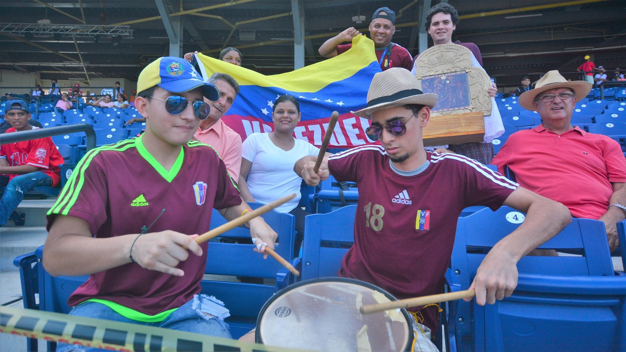 Venezuela fans at the Edgar Renteria stadium in Barranquilla