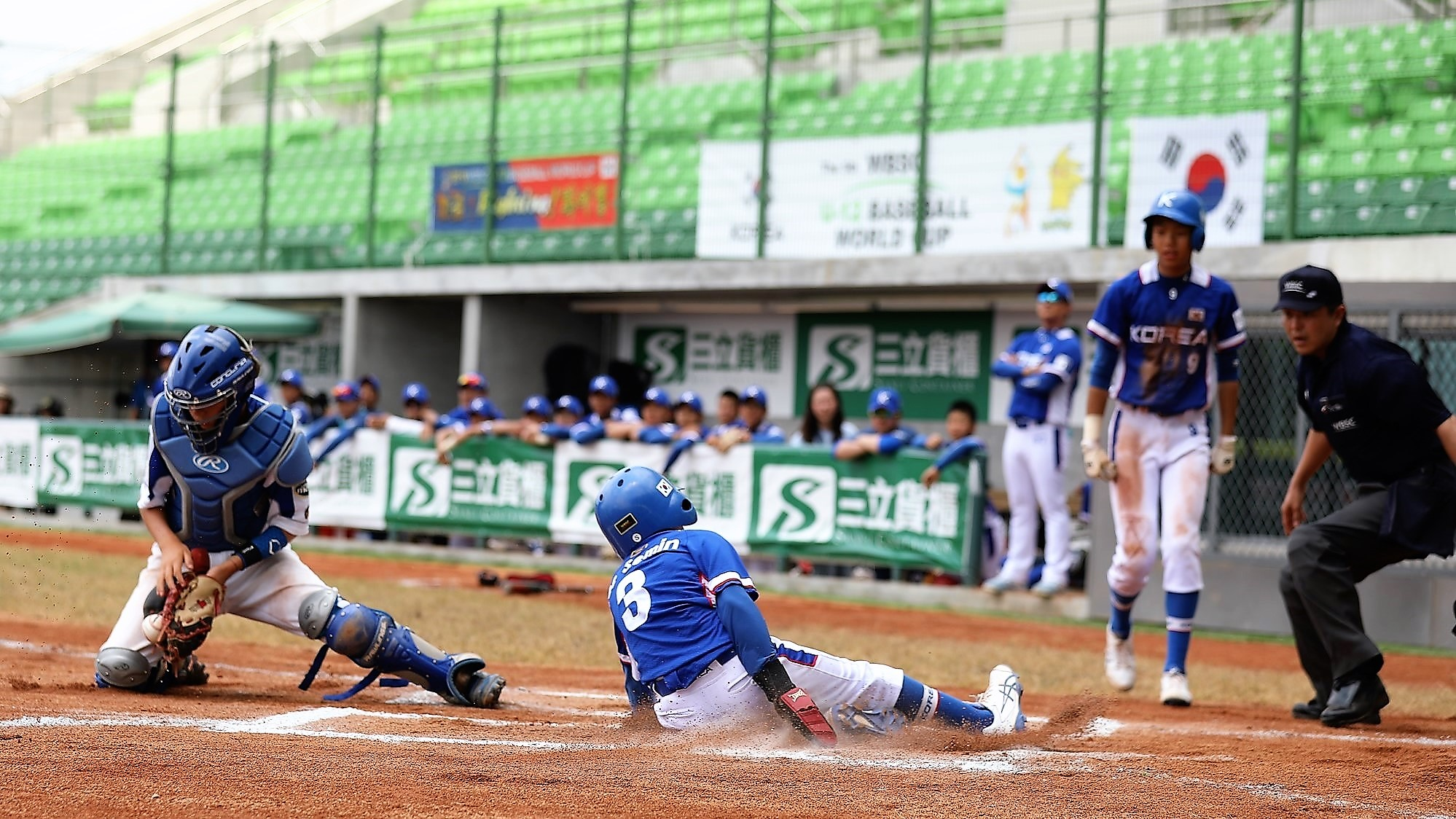 Korea scored four in the fifth to end the game