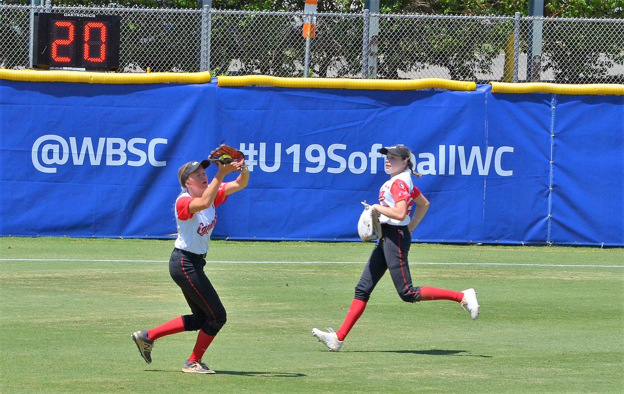 Canada's outfield at work