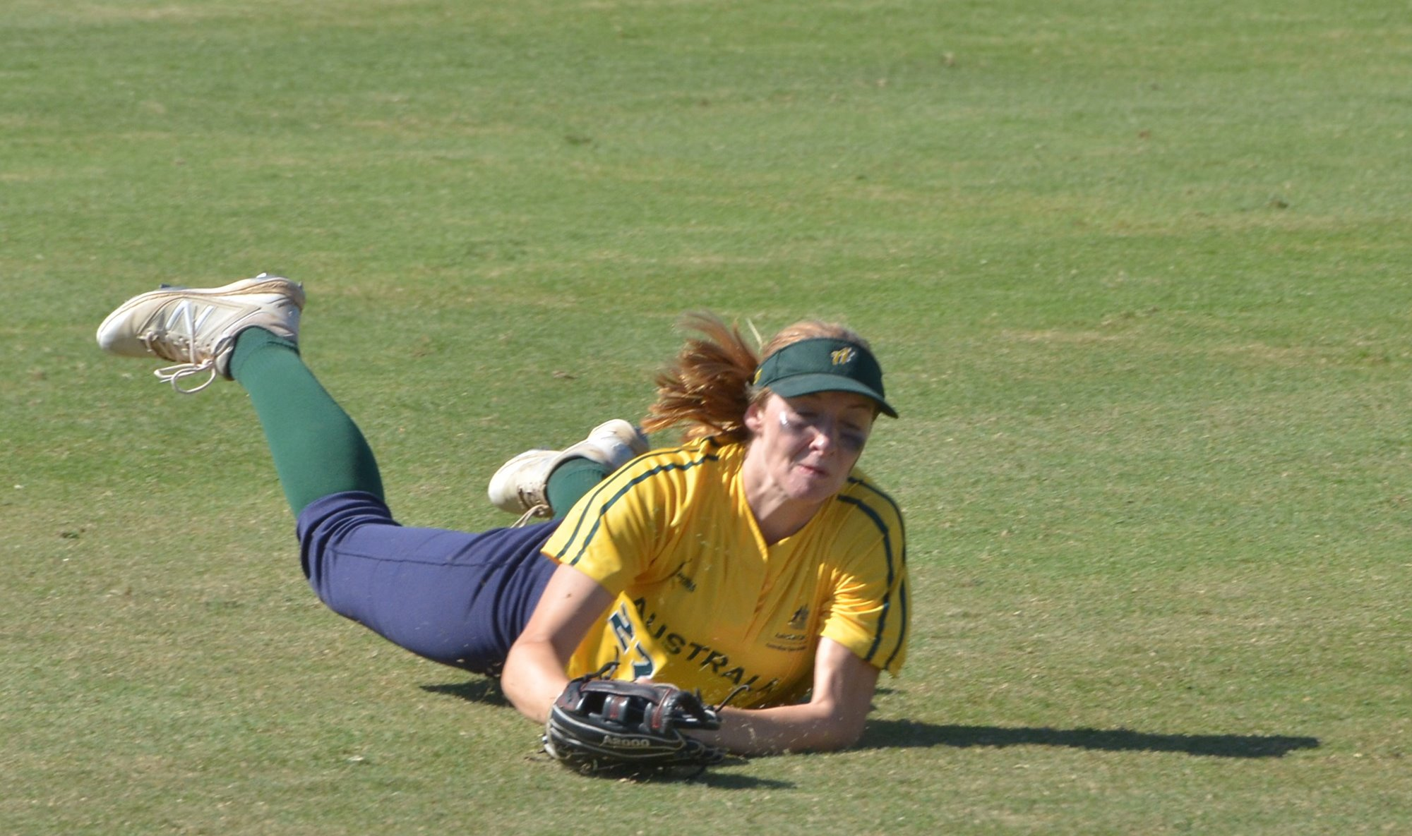 A superb diving catch by Pippa Adkins