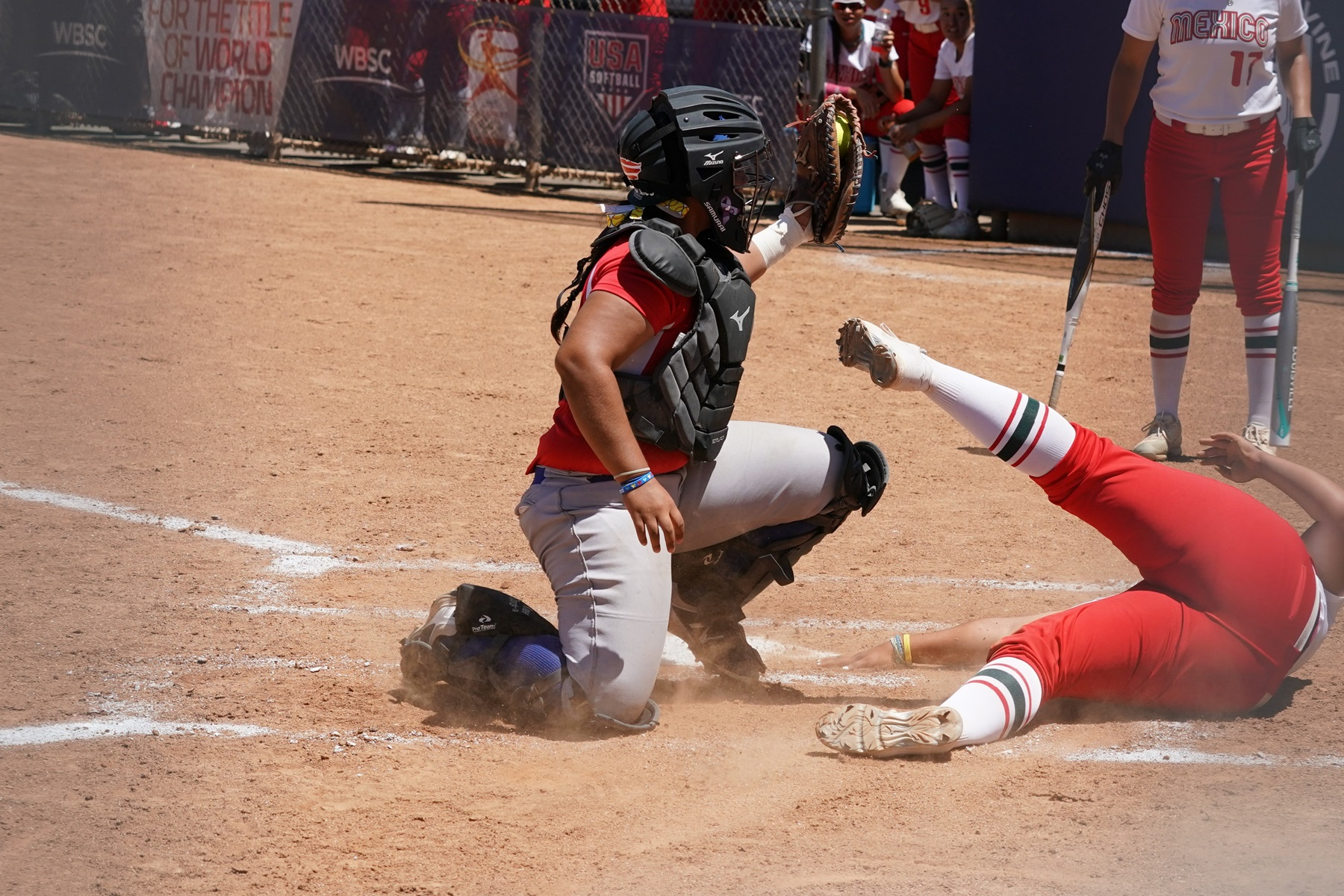 She was tagged for the out at home plate