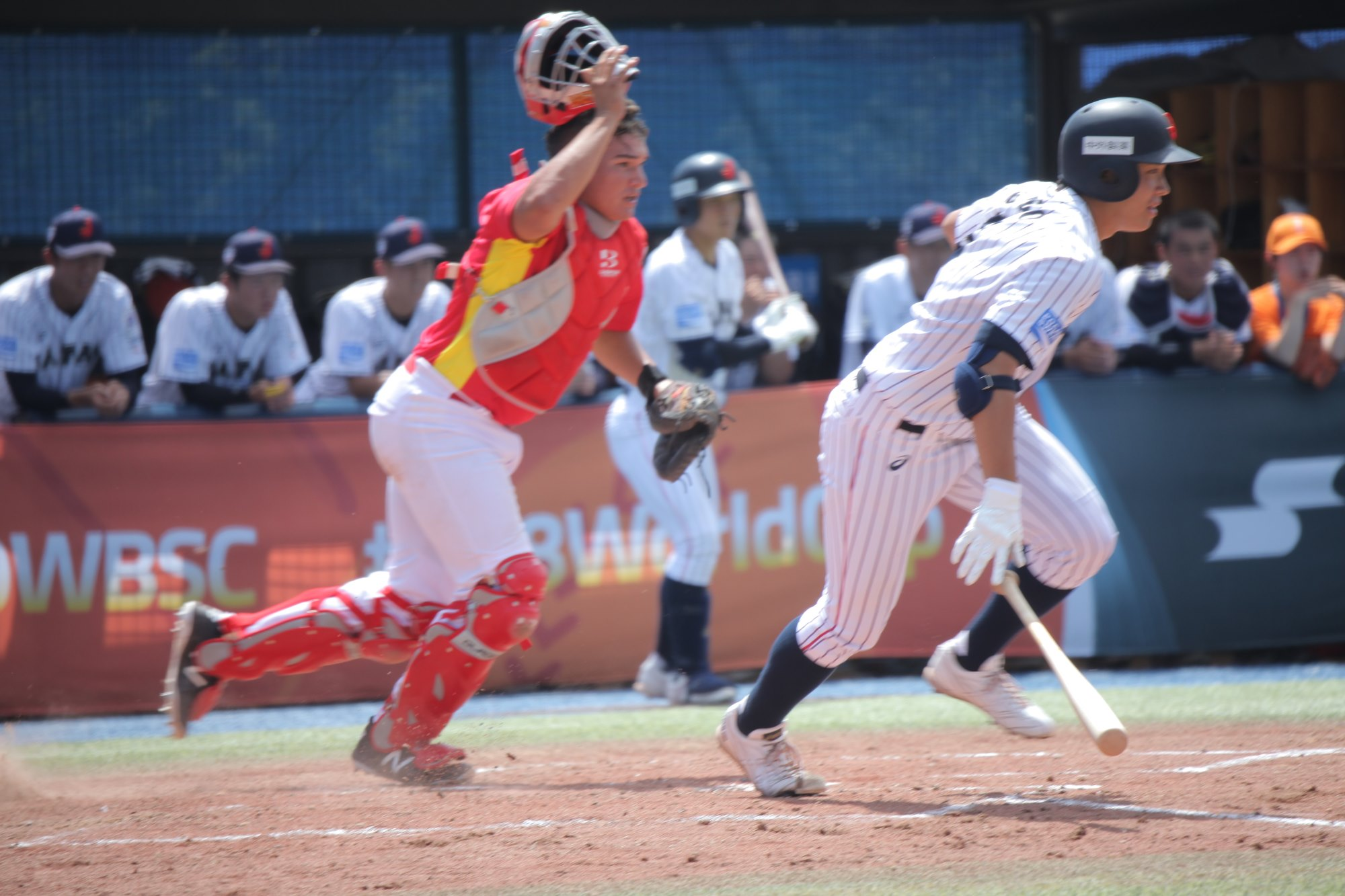 Spain catcher Juan Gonzalez committed a key error