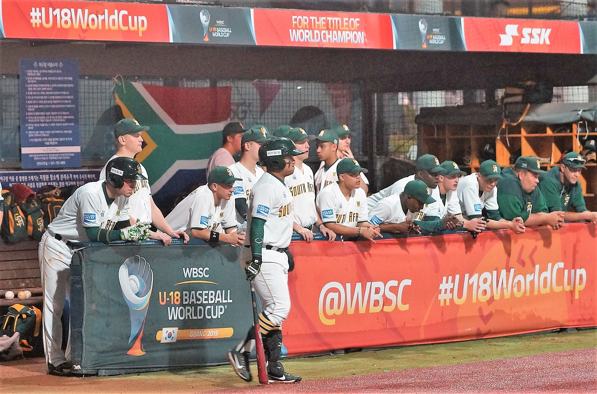 South Africa dugout before the game