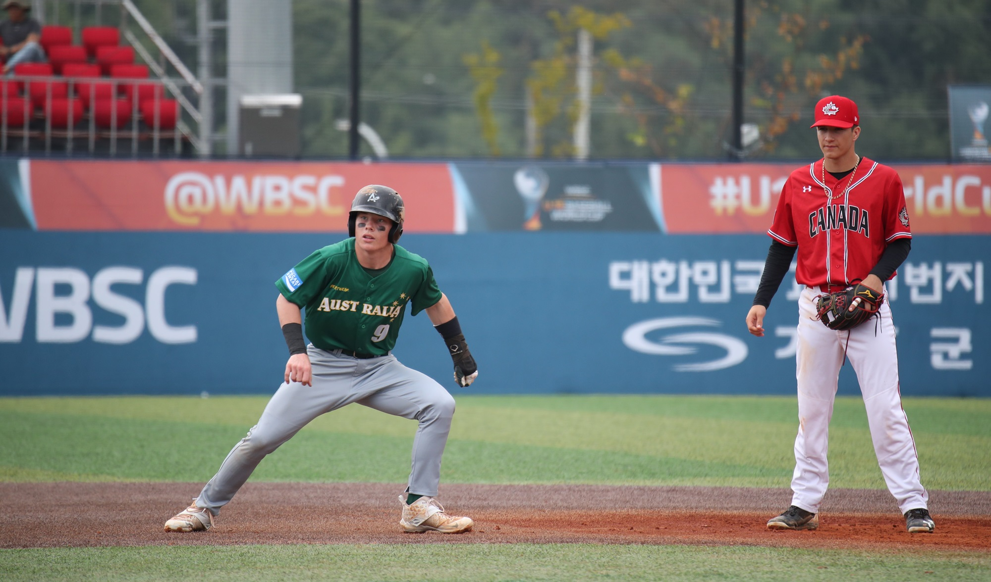Trevis Bazzana runs the bases against Canada