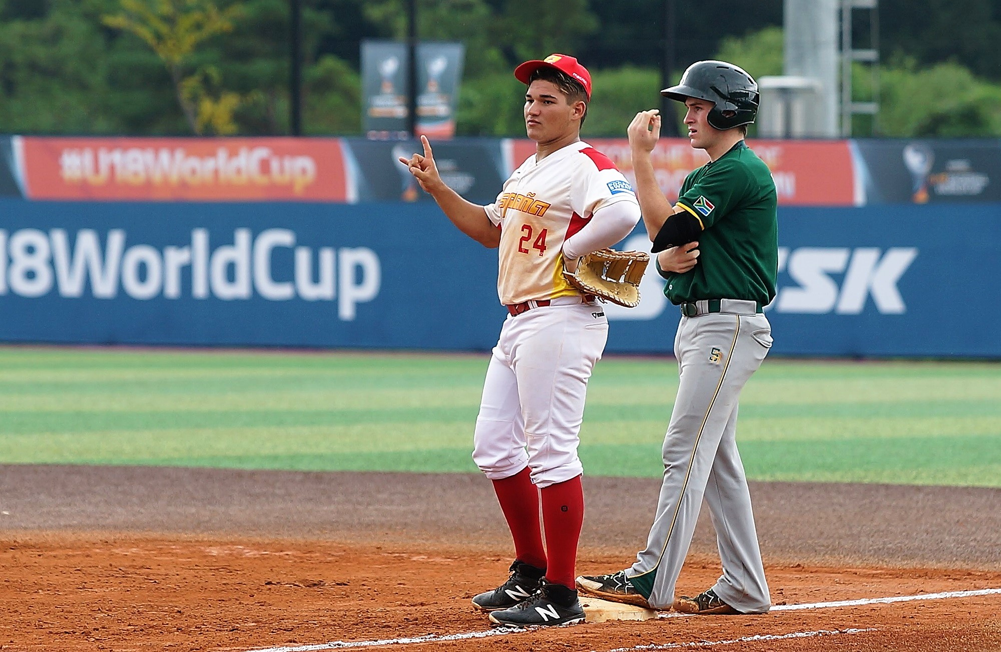 Juan Gonzalez played at first today for Spain